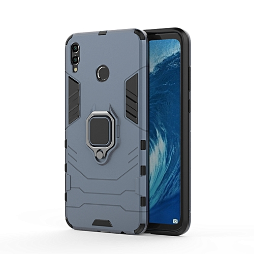 PC + TPU Shockproof Protective Case For Huawei Honor 8X Max, With Magnetic  Ring Holder(Navy Blue)