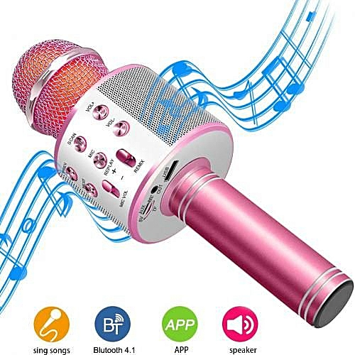WS-858 Bluetooth Microphone Speaker Compatible with iPhone, PC, Android,  IOS - Pink