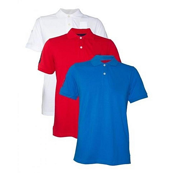 8c9519214c 3 Pieces Of Blue, White And Red Cotton Polo