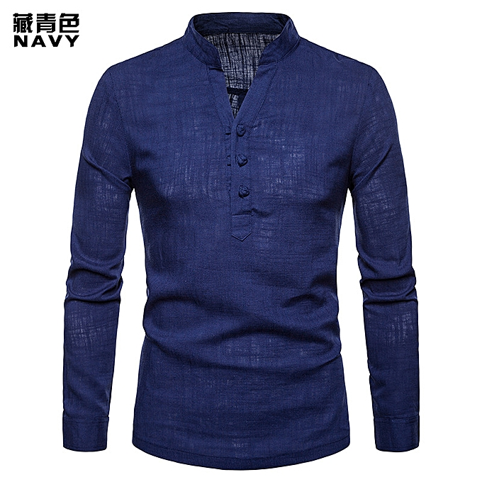 2a2a487a6 Excellent High Quality Solid Color Men Shirt Linen Henry Collar Large Size  Solid Color Long Sleeve