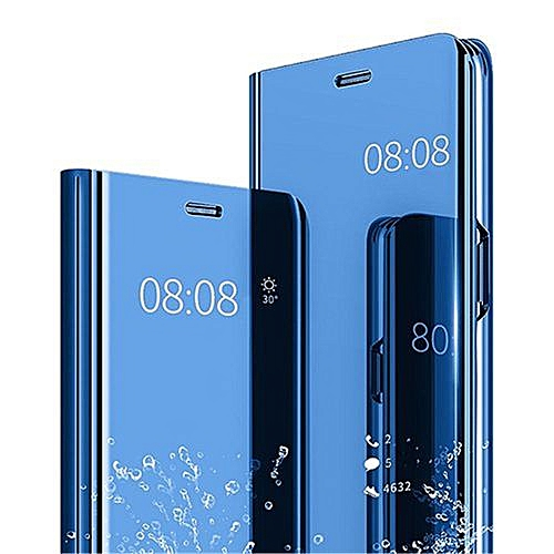 wholesale dealer eb50e d4be9 Samsung Galaxy A9 2018 Leather Case Flip Case Cover With Plating Mirror And  Stand Function - Blue