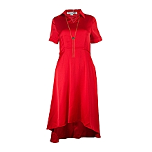 Red Skater Dress With Cutting And Chain