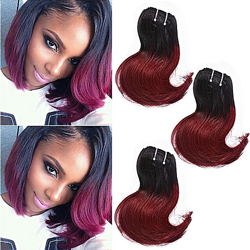 Brazilian Hair - 3 Bundles - 10 Inches - Black And Red