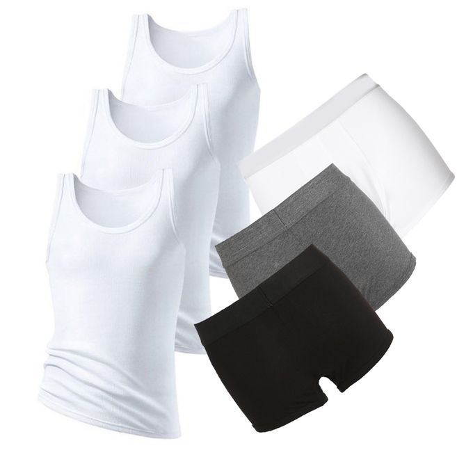 3 Pieces Yarrison Grey White And Black Boxer plus 3 Pieces Of White Tank
