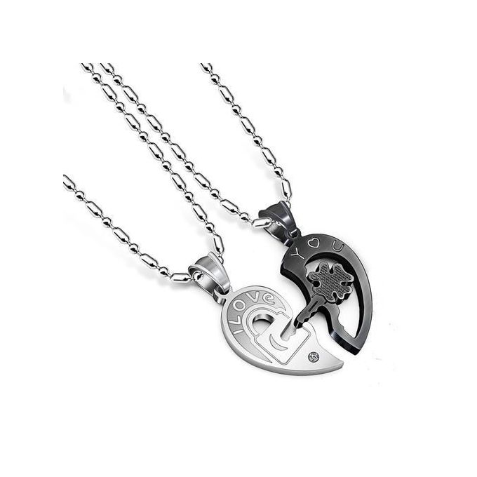 Couple Chain Necklace Pendant Valentines Day Gift