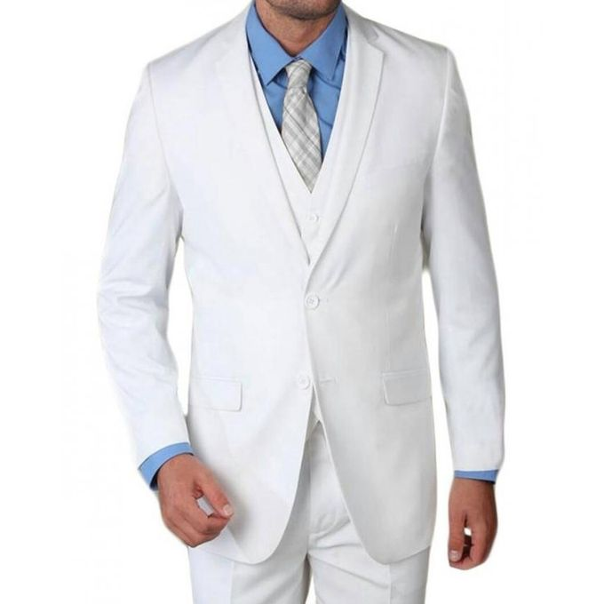 Two pieces white suit jacket and pants